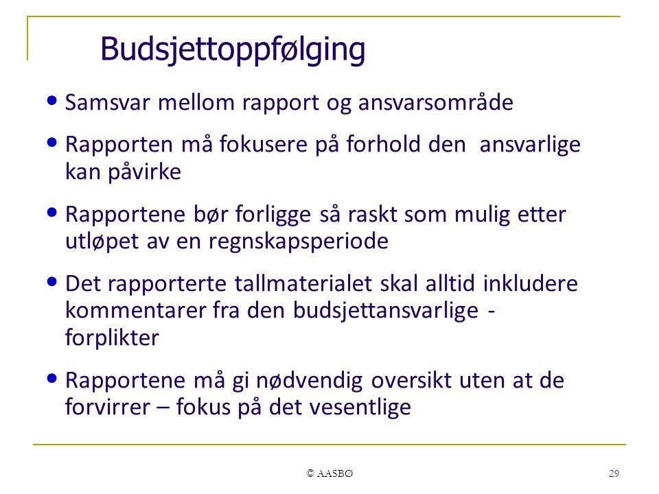 © AASBØ 29 Budsjettoppfølging Samsvar mellom rapport og ansvarsområde Rapporten må fokusere på forhold den ansvarlige kan påvirke Rapportene bør forli