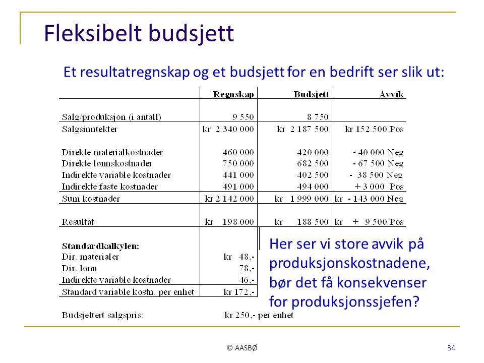 © AASBØ 34 Fleksibelt budsjett Et resultatregnskap og et budsjett for en bedrift ser slik ut: Her ser vi store avvik på produksjonskostnadene, bør det
