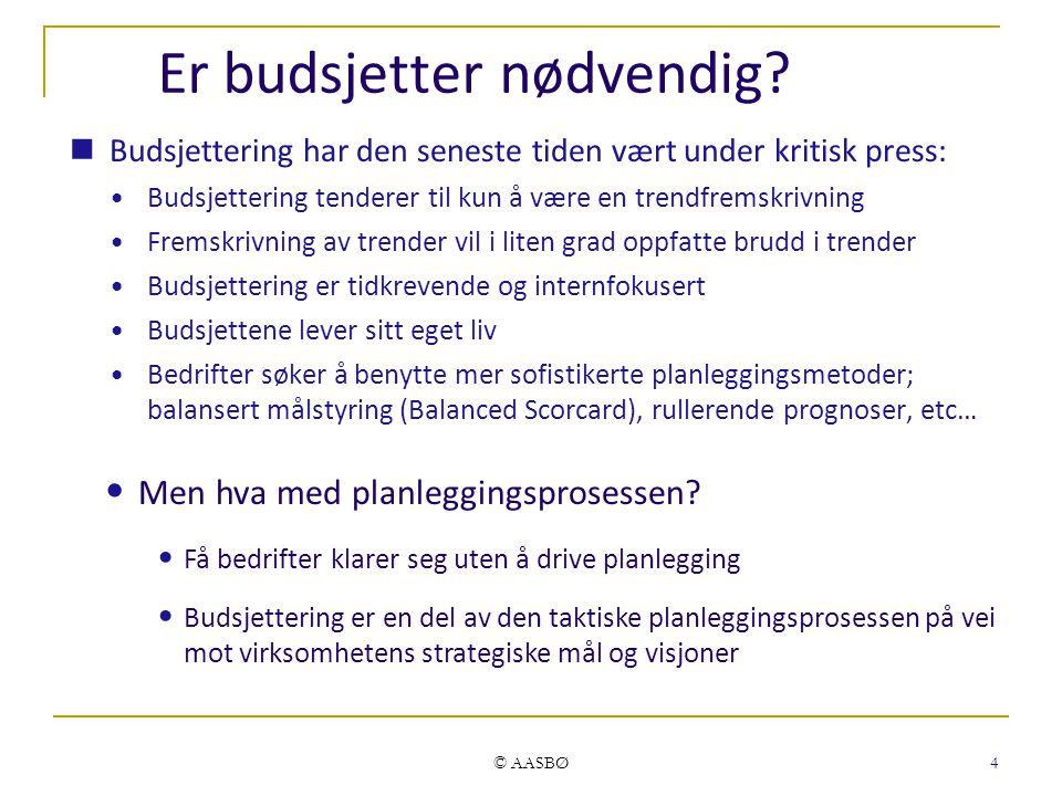 © AASBØ 4 Er budsjetter nødvendig.