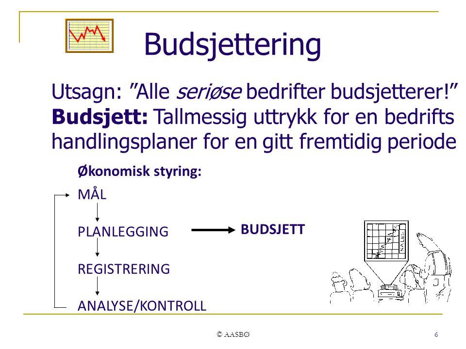 """© AASBØ 6 Budsjettering Utsagn: """"Alle seriøse bedrifter budsjetterer!"""" Budsjett: Tallmessig uttrykk for en bedrifts handlingsplaner for en gitt fremti"""