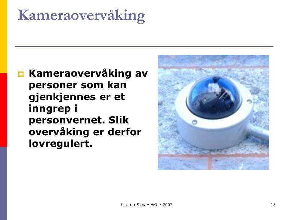 Kirsten Ribu - HiO - 200715 Kameraovervåking  Kameraovervåking av personer som kan gjenkjennes er et inngrep i personvernet.
