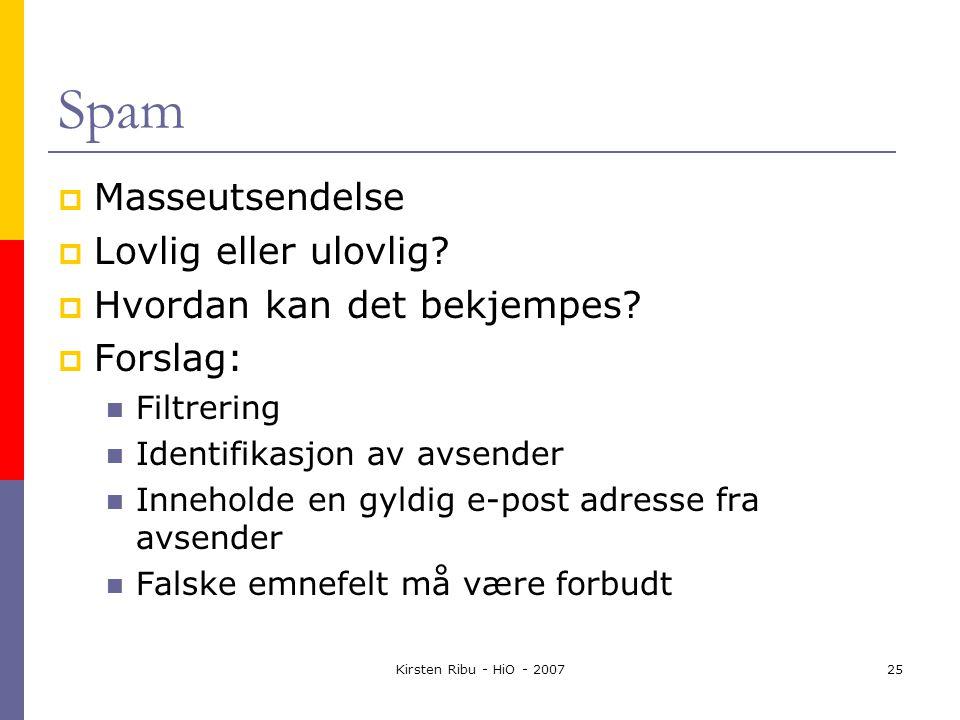 Kirsten Ribu - HiO - 200725 Spam  Masseutsendelse  Lovlig eller ulovlig.