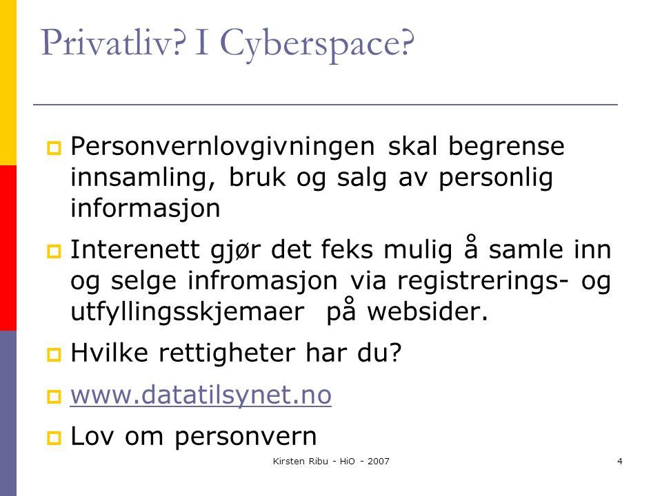 Kirsten Ribu - HiO - 20074 Privatliv. I Cyberspace.