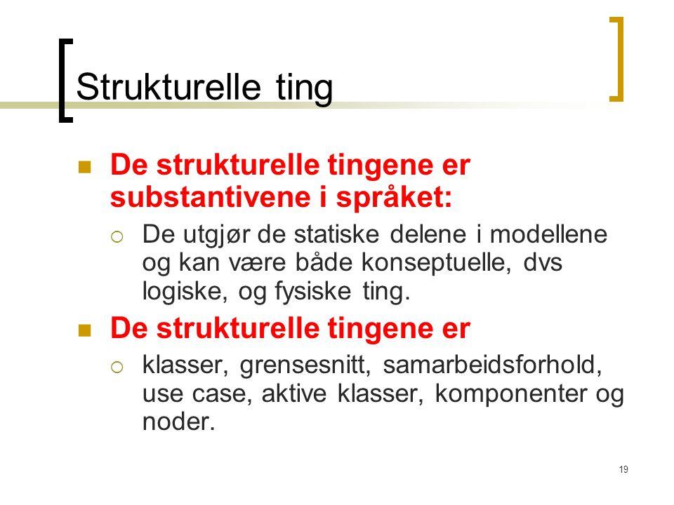 19 Strukturelle ting De strukturelle tingene er substantivene i språket:  De utgjør de statiske delene i modellene og kan være både konseptuelle, dvs logiske, og fysiske ting.