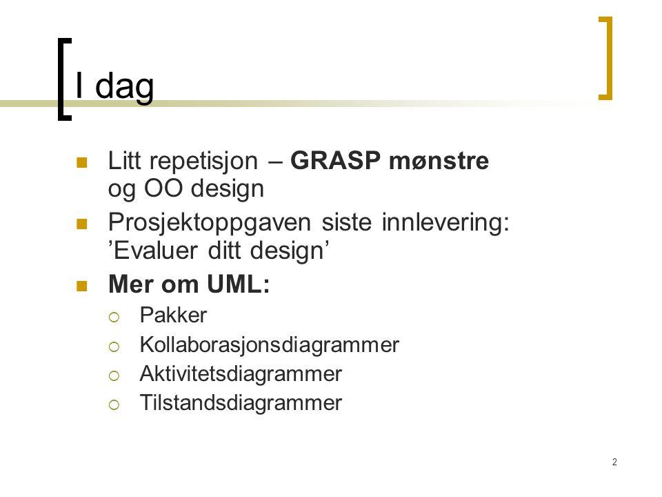 2 I dag Litt repetisjon – GRASP mønstre og OO design Prosjektoppgaven siste innlevering: 'Evaluer ditt design' Mer om UML:  Pakker  Kollaborasjonsdi