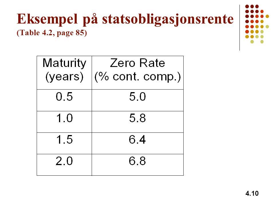 4.10 Eksempel på statsobligasjonsrente (Table 4.2, page 85)