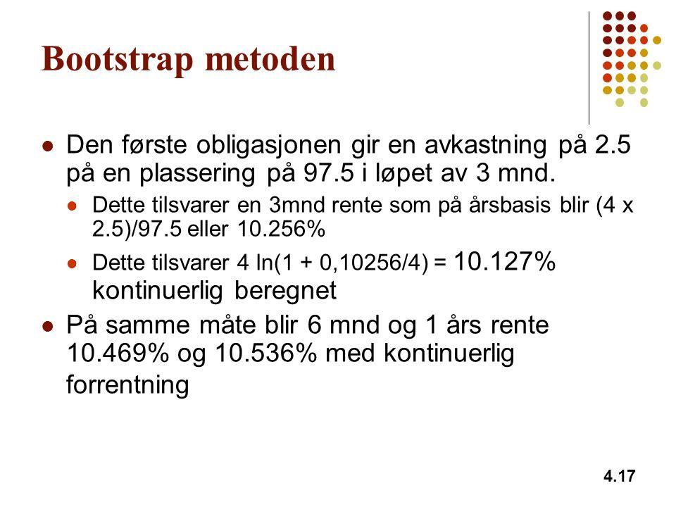 4.17 Bootstrap metoden Den første obligasjonen gir en avkastning på 2.5 på en plassering på 97.5 i løpet av 3 mnd. Dette tilsvarer en 3mnd rente som p