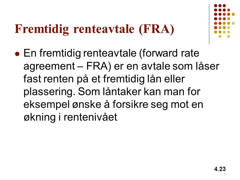 4.23 Fremtidig renteavtale (FRA) En fremtidig renteavtale (forward rate agreement – FRA) er en avtale som låser fast renten på et fremtidig lån eller plassering.