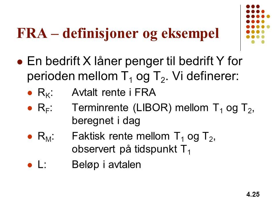 FRA – definisjoner og eksempel En bedrift X låner penger til bedrift Y for perioden mellom T 1 og T 2. Vi definerer: R K :Avtalt rente i FRA R F :Term