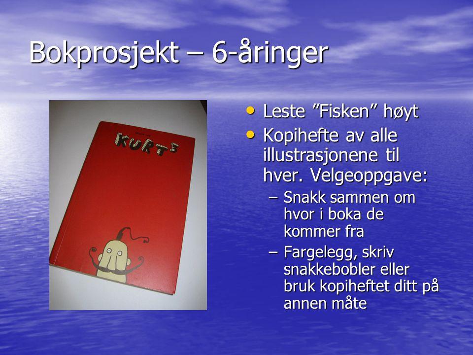 Bokprosjekt – 6-åringer Leste Fisken høyt Leste Fisken høyt Kopihefte av alle illustrasjonene til hver.