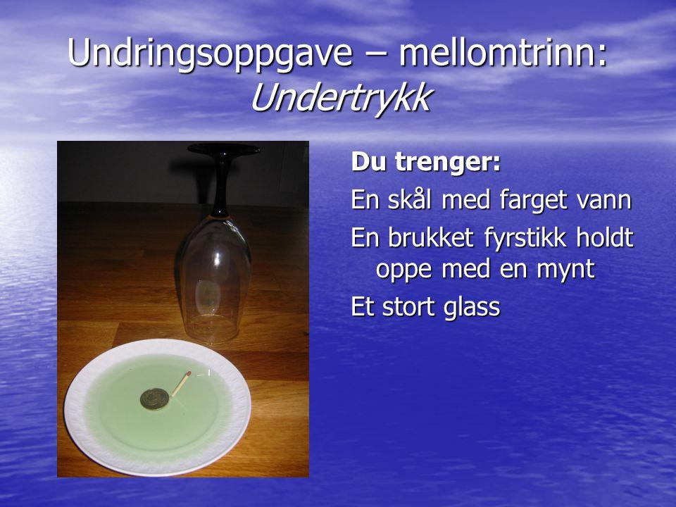 Undringsoppgave – mellomtrinn: Undertrykk Du trenger: En skål med farget vann En brukket fyrstikk holdt oppe med en mynt Et stort glass
