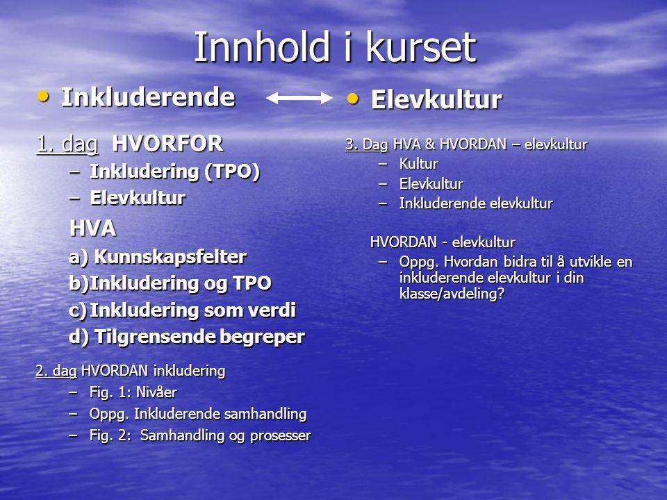 Innhold i kurset Inkluderende Inkluderende 1.