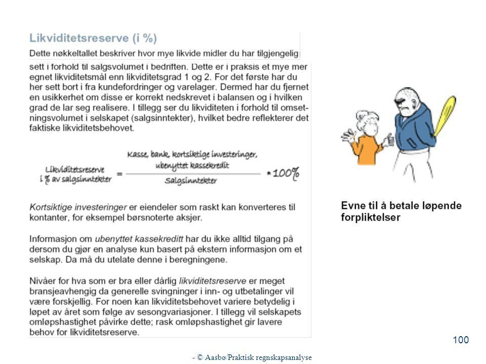- © Aasbø/Praktisk regnskapsanalyse 100