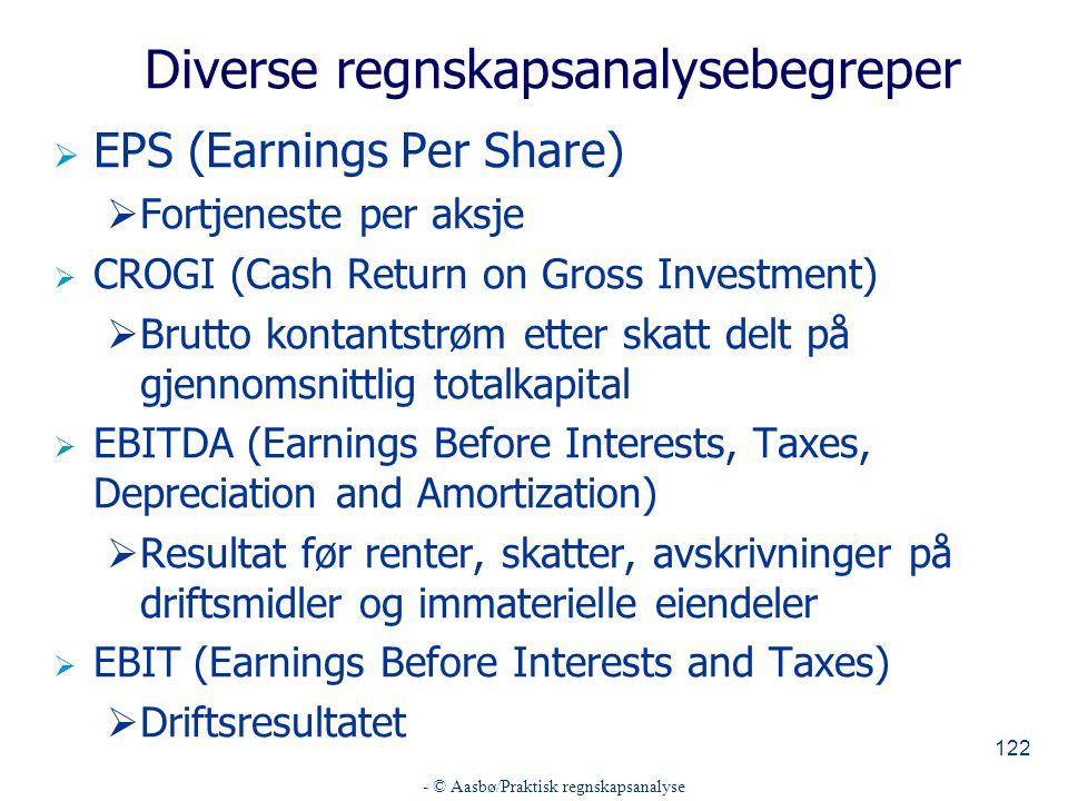 - © Aasbø/Praktisk regnskapsanalyse 122 Diverse regnskapsanalysebegreper  EPS (Earnings Per Share)  Fortjeneste per aksje  CROGI (Cash Return on Gr