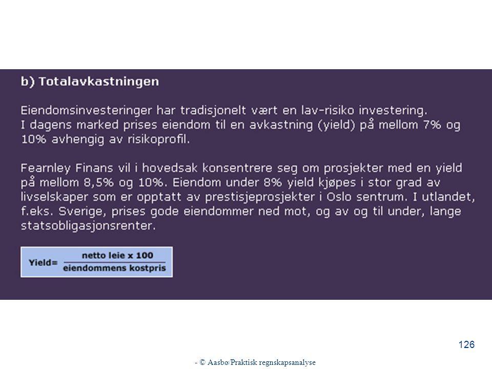 - © Aasbø/Praktisk regnskapsanalyse 126