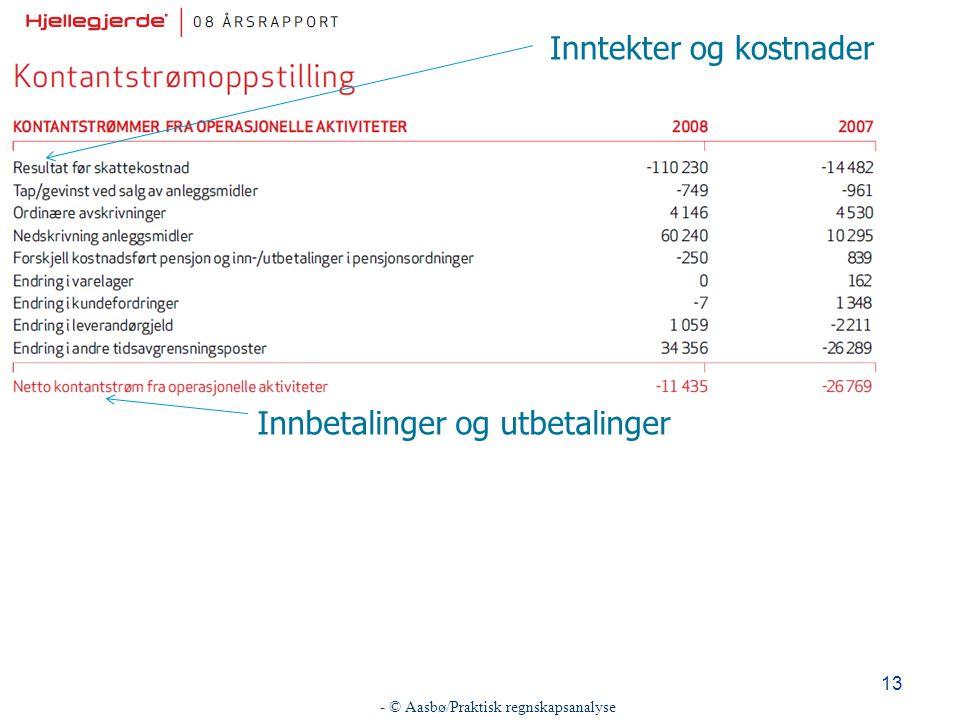 - © Aasbø/Praktisk regnskapsanalyse 13 Inntekter og kostnader Innbetalinger og utbetalinger