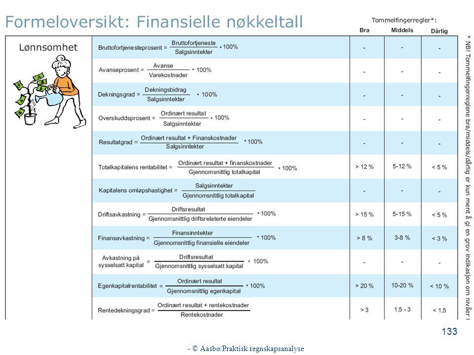 - © Aasbø/Praktisk regnskapsanalyse 133