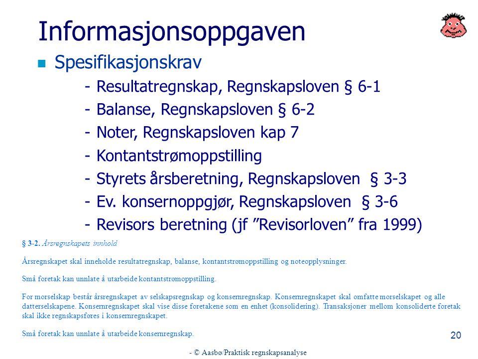 - © Aasbø/Praktisk regnskapsanalyse 20 Informasjonsoppgaven n Spesifikasjonskrav -Resultatregnskap, Regnskapsloven § 6-1 -Balanse, Regnskapsloven § 6-