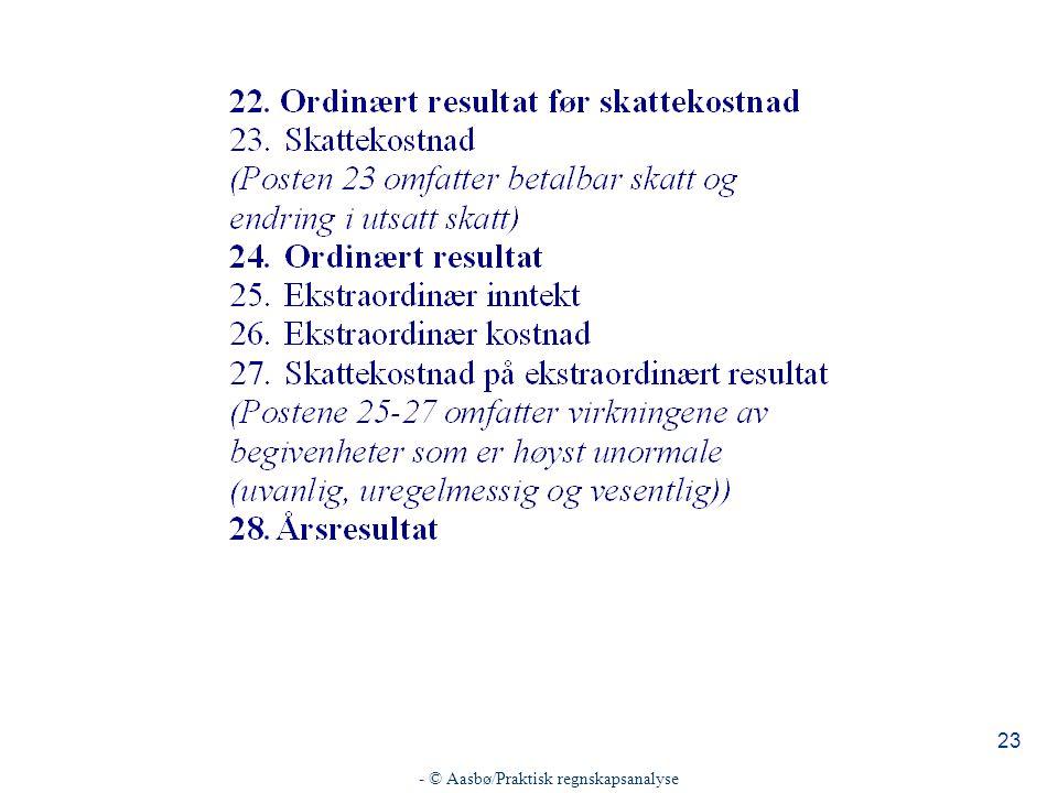 - © Aasbø/Praktisk regnskapsanalyse 23