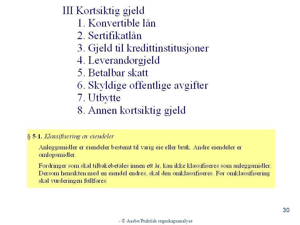 - © Aasbø/Praktisk regnskapsanalyse 30