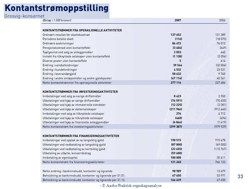 - © Aasbø/Praktisk regnskapsanalyse 33