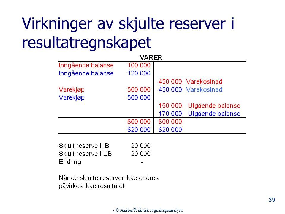 - © Aasbø/Praktisk regnskapsanalyse 39 Virkninger av skjulte reserver i resultatregnskapet