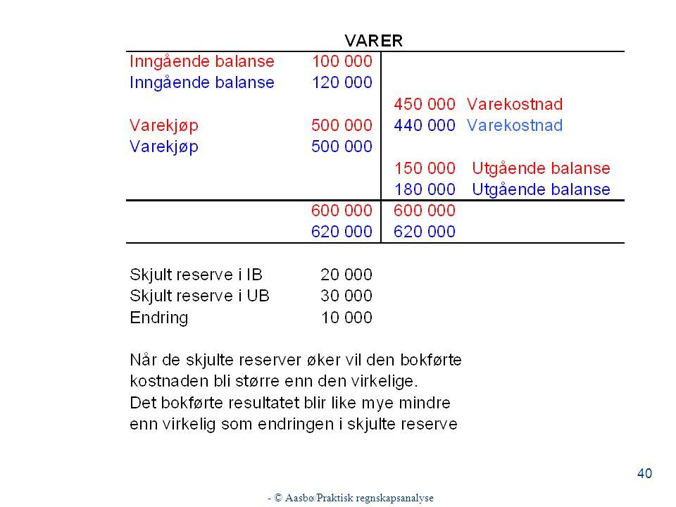 - © Aasbø/Praktisk regnskapsanalyse 40