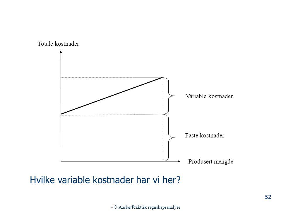 - © Aasbø/Praktisk regnskapsanalyse 52 Totale kostnader Produsert mengde Variable kostnader Faste kostnader Hvilke variable kostnader har vi her?