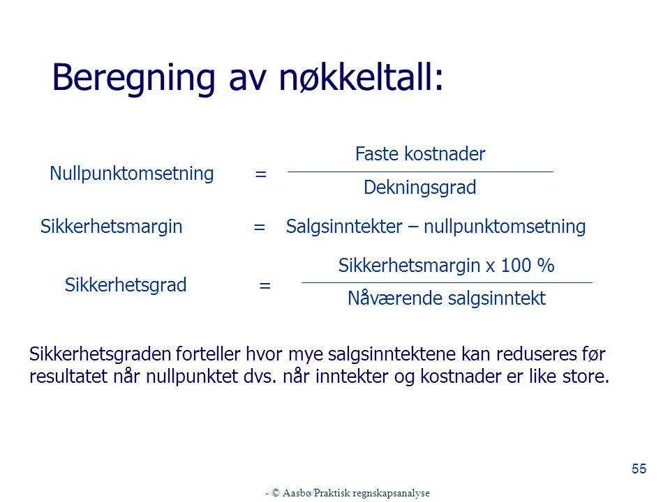 - © Aasbø/Praktisk regnskapsanalyse 55 Beregning av nøkkeltall: =Nullpunktomsetning Dekningsgrad Faste kostnader Sikkerhetsgraden forteller hvor mye s
