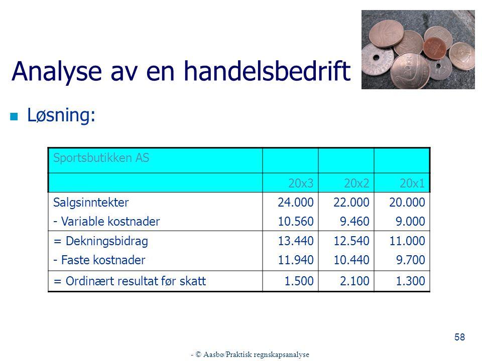 - © Aasbø/Praktisk regnskapsanalyse 58 Analyse av en handelsbedrift n Løsning: Sportsbutikken AS 20x320x220x1 Salgsinntekter24.00022.00020.000 - Varia