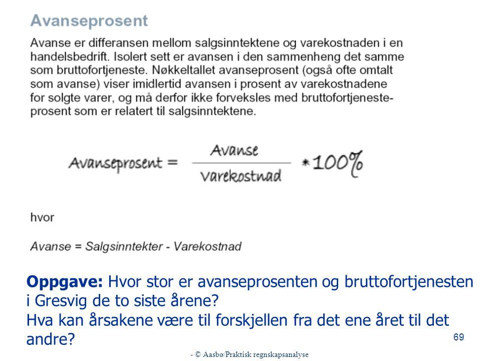 - © Aasbø/Praktisk regnskapsanalyse 69 Oppgave: Hvor stor er avanseprosenten og bruttofortjenesten i Gresvig de to siste årene.