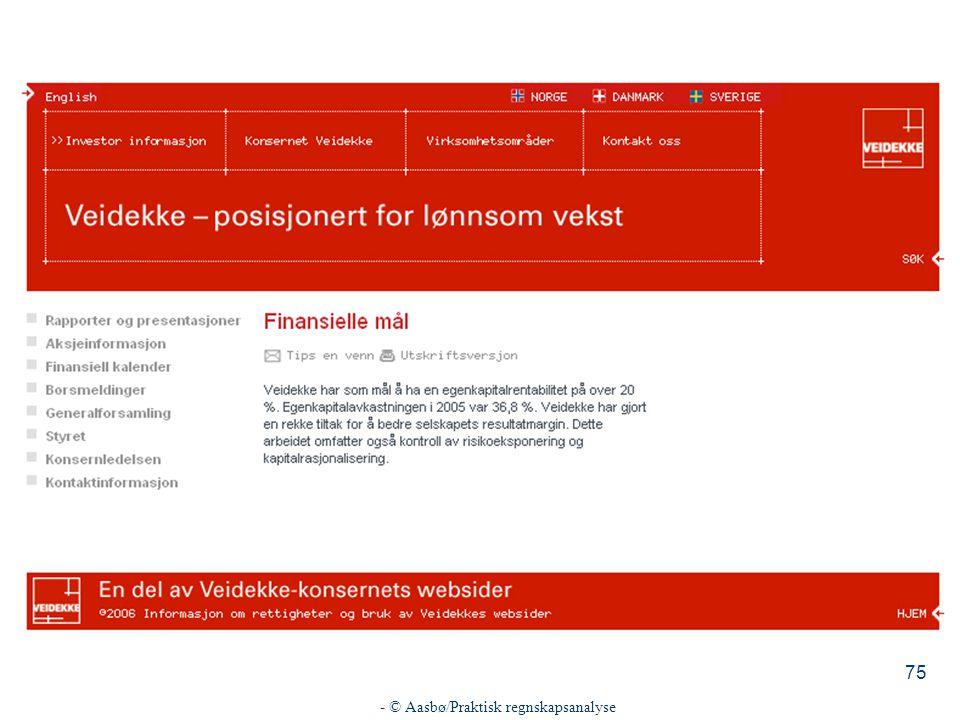 - © Aasbø/Praktisk regnskapsanalyse 75