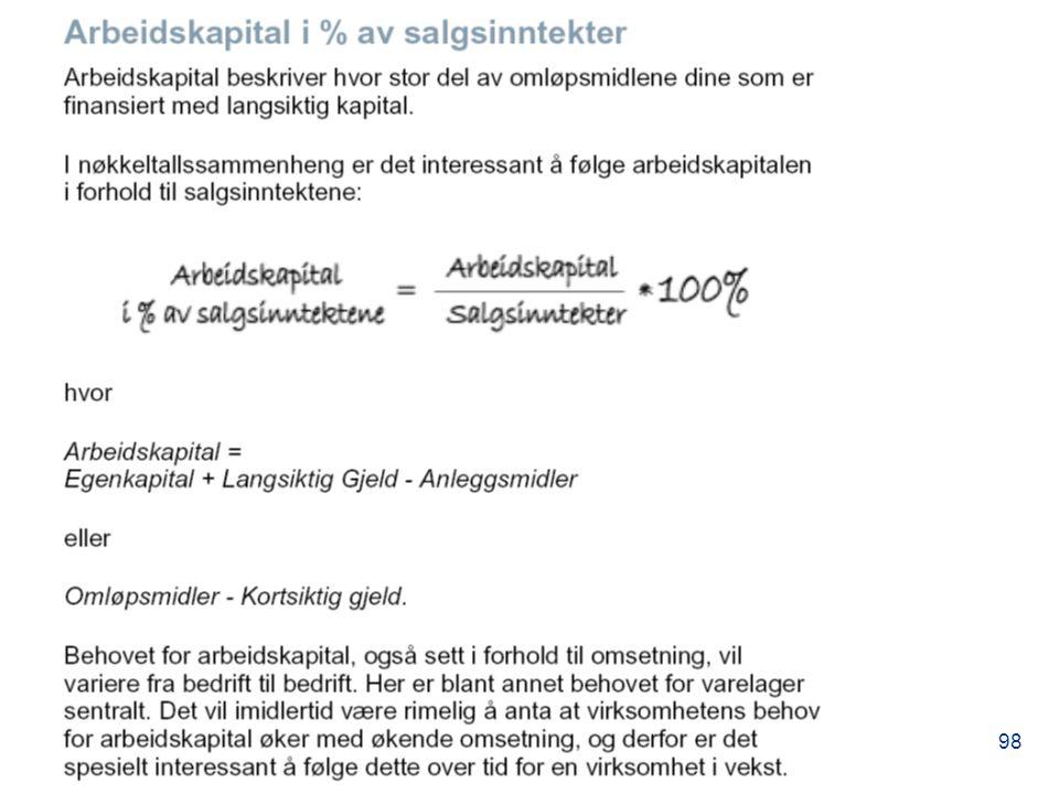 - © Aasbø/Praktisk regnskapsanalyse 98