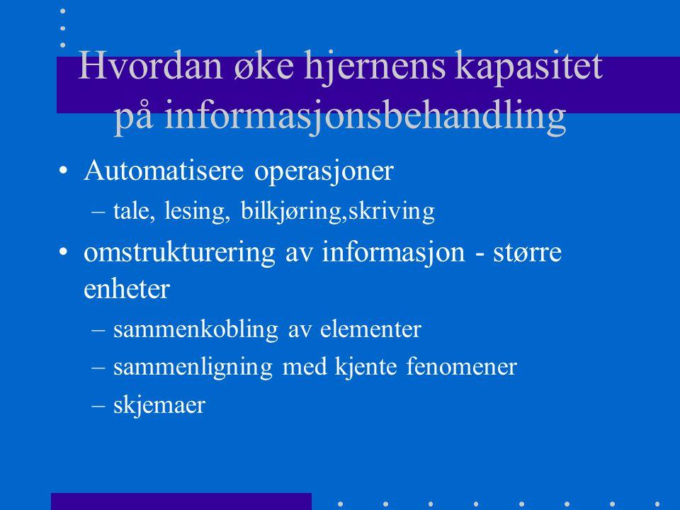 Hvordan øke hjernens kapasitet på informasjonsbehandling Automatisere operasjoner –tale, lesing, bilkjøring,skriving omstrukturering av informasjon -
