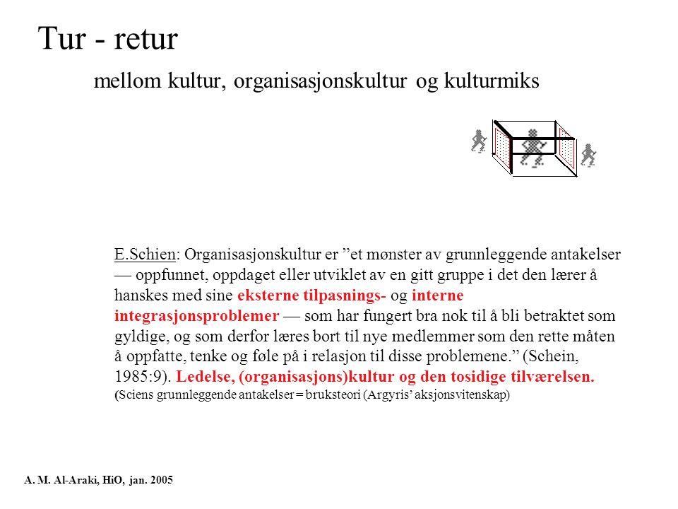 Tur - retur mellom kultur, organisasjonskultur og kulturmiks A.
