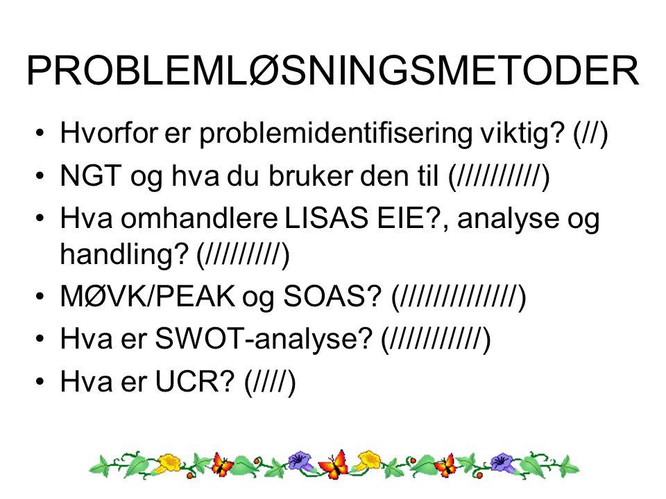 Hvorfor er problemidentifisering viktig? (//) NGT og hva du bruker den til (//////////) Hva omhandlere LISAS EIE?, analyse og handling? (/////////) MØ