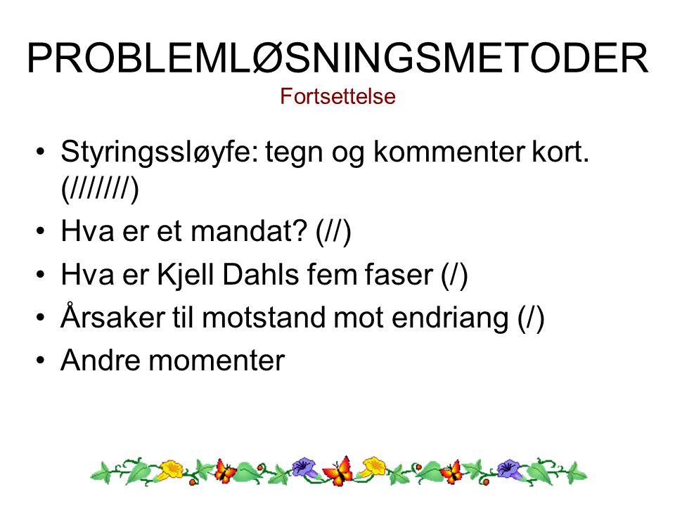 PROBLEMLØSNINGSMETODER Fortsettelse Styringssløyfe: tegn og kommenter kort. (///////) Hva er et mandat? (//) Hva er Kjell Dahls fem faser (/) Årsaker
