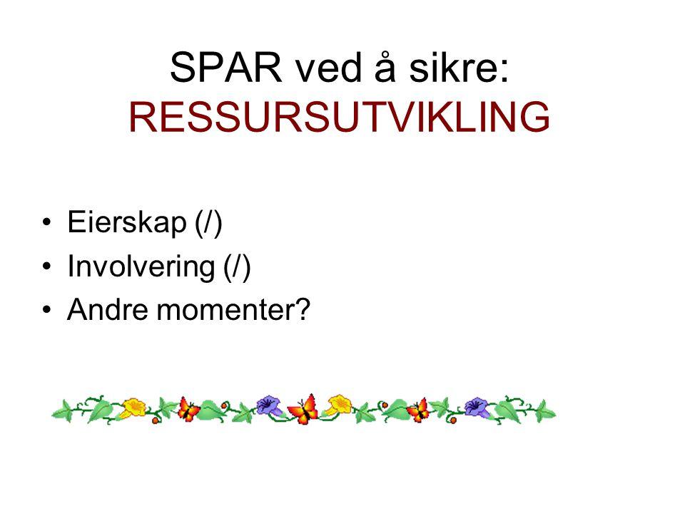 SPAR ved å sikre: RESSURSUTVIKLING Eierskap (/) Involvering (/) Andre momenter?