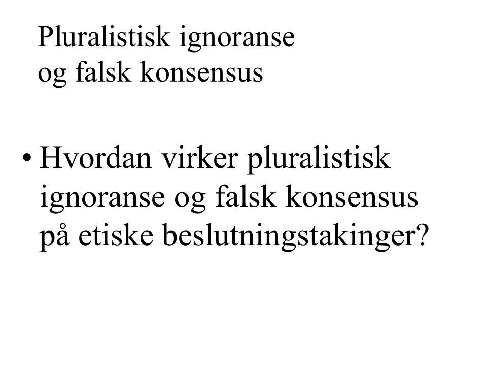 Pluralistisk ignoranse og falsk konsensus Hvordan virker pluralistisk ignoranse og falsk konsensus på etiske beslutningstakinger?