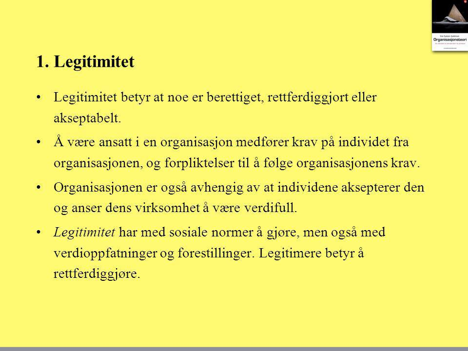 1. Legitimitet Legitimitet betyr at noe er berettiget, rettferdiggjort eller akseptabelt. Å være ansatt i en organisasjon medfører krav på individet f