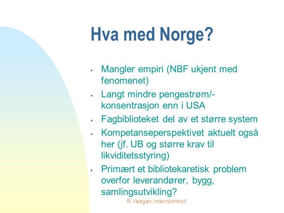 R.Vaagan: internkontroll Hva med Norge?  Mangler empiri (NBF ukjent med fenomenet)  Langt mindre pengestrøm/- konsentrasjon enn i USA  Fagbibliotek