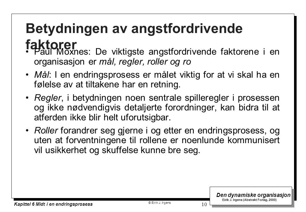 © Eirik J. Irgens Den dynamiske organisasjon Eirik J. Irgens (Abstrakt Forlag, 2000) Kapittel 6 Midt i en endringsprosess 10 Betydningen av angstfordr
