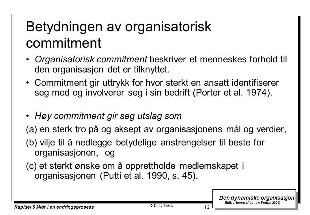 © Eirik J. Irgens Den dynamiske organisasjon Eirik J. Irgens (Abstrakt Forlag, 2000) Kapittel 6 Midt i en endringsprosess 12 Betydningen av organisato