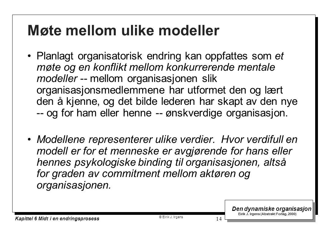 © Eirik J. Irgens Den dynamiske organisasjon Eirik J. Irgens (Abstrakt Forlag, 2000) Kapittel 6 Midt i en endringsprosess 14 Møte mellom ulike modelle