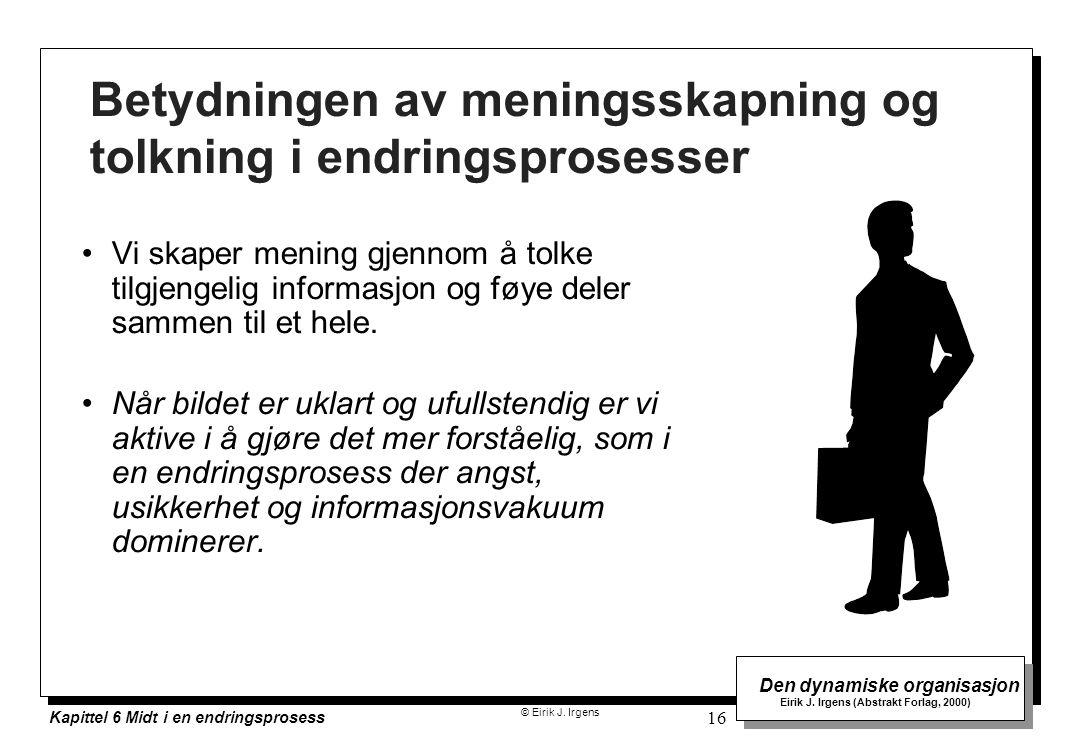 © Eirik J. Irgens Den dynamiske organisasjon Eirik J. Irgens (Abstrakt Forlag, 2000) Kapittel 6 Midt i en endringsprosess 16 Betydningen av meningsska