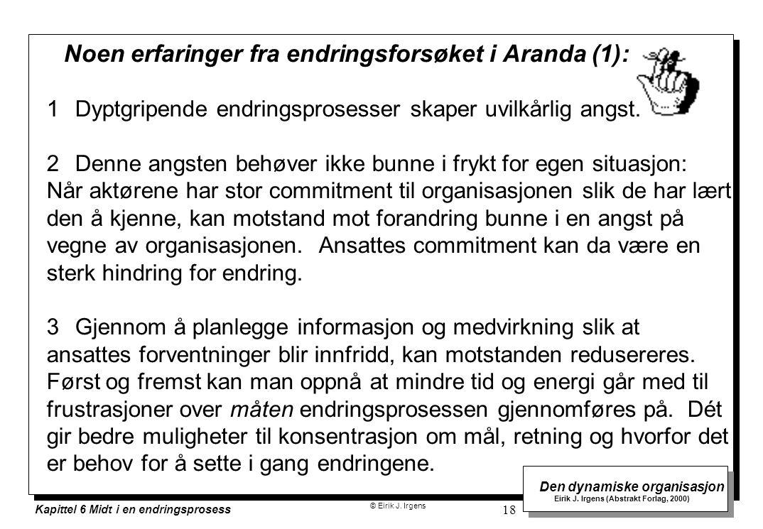 © Eirik J. Irgens Den dynamiske organisasjon Eirik J. Irgens (Abstrakt Forlag, 2000) Kapittel 6 Midt i en endringsprosess 18 Noen erfaringer fra endri