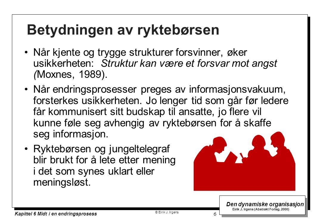 © Eirik J. Irgens Den dynamiske organisasjon Eirik J. Irgens (Abstrakt Forlag, 2000) Kapittel 6 Midt i en endringsprosess 6 Betydningen av ryktebørsen