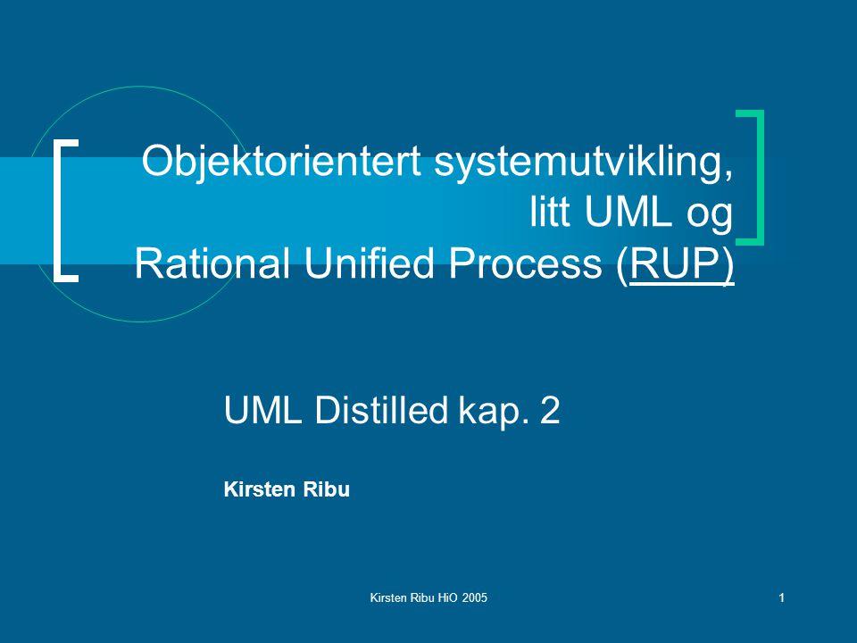Kirsten Ribu HiO 200512 The Unified Process – En prosessmodell  Use-case dreven: Use case modellen driver utviklingsprosessen, ikke bare for krav- spesifikasjon, men også for prosjektplanlegging og definisjon av test cases  Arkitektursentrisk: Basisarkitekturen, dvs.