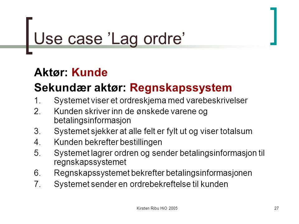 Kirsten Ribu HiO 200527 Use case 'Lag ordre' Aktør: Kunde Sekundær aktør: Regnskapssystem 1.Systemet viser et ordreskjema med varebeskrivelser 2.Kunde