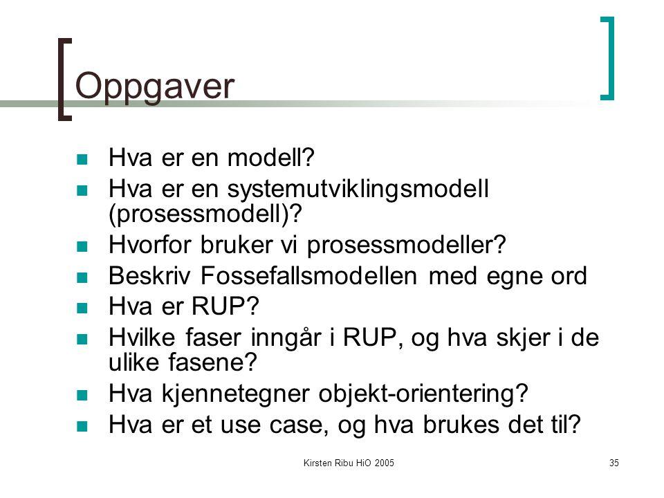 Kirsten Ribu HiO 200535 Oppgaver Hva er en modell? Hva er en systemutviklingsmodell (prosessmodell)? Hvorfor bruker vi prosessmodeller? Beskriv Fossef